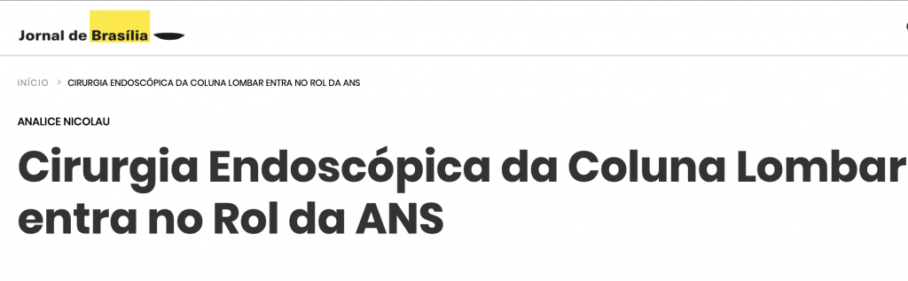Cirurgia endoscópica da Coluna - Jornal de Brasilia